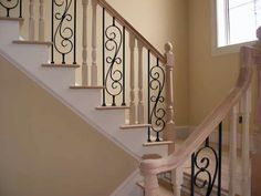 Wrought Iron and Wood Staircase