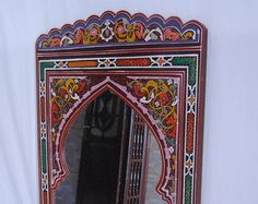 """Moroccan mirror made of wood handmade by craftman of Chefchaouen ( 80cm x 120cm) 31.5'' x 47.24"""""""