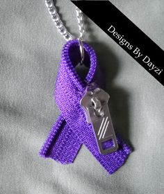 Chiari Awareness Zipperhead Ribbon Necklace by designsbydayzi, $10.00