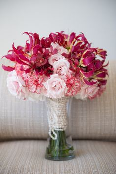 Pink Gloriosa Lily, Carnation and Rose Bouquet White Tent Wedding, Purple Wedding, Red Bouquet Wedding, Wedding Flowers, Gloriosa Lily, Pink And Purple Flowers, Pastel Pink, Pink Roses, Lily Bouquet