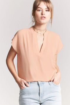 61b0b477545 Product Name Mandarin-Collar Woven Top