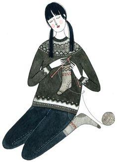 Primera colección de ilustraciones con las madejas, los ovillos y las agujas como protagonistas. Porque el punto y el ganchillo no sólo se puede tejer, también se puede dibujar. Un placer para la v…