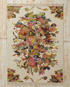 Pixilated Flat-Weave Wool Rug