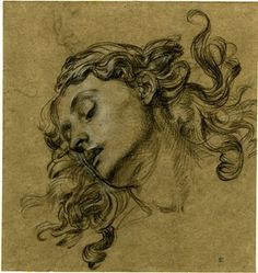 Edward John Poynter - Study of the head of Antonia Caiva as Andromeda in the painting 'Perseus and Andromeda'