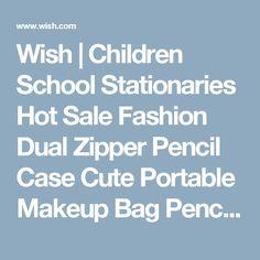 Wish | Children School Stationaries  Hot Sale Fashion Dual Zipper Pencil Case Cute Portable Makeup Bag Pencil Case Pen Bag Size:20*10*3cm OSS-0064