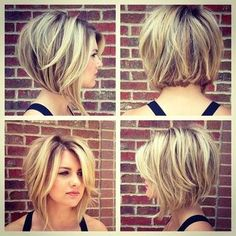 Stacked Bob Hairstyles For Women, With a couple styling tricks you're able to transform the medium hairstyles in various styles. The medium hairstyles are a rather excellent alternate . Stacked Bob Hairstyles, Hairstyles For Round Faces, Medium Hairstyles, Cool Hairstyles, Hairstyle Ideas, Latest Hairstyles, Swing Bob Hairstyles, Choppy Bob Hairstyles Messy Lob, Blunt Hairstyles