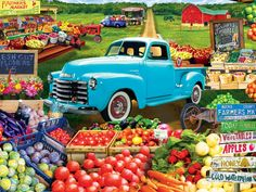 This MasterPieces 750-piece linen puzzle is set at the local Farmer's Market. To reduce its impact on our environment, the chipboard used in this puzzle is made of recycled material. Nothing says summer like a trip to the Farm stand and a classic pickup truck Thick recycled puzzle board and random cut pieces ensure a tight interlocking fit and create a fun experience We stand behind our products and guarantee your satisfaction Dimensions : 18 x 24 Inches Honey And Clover, Puzzle Store, Classic Pickup Trucks, Puzzle Pieces, Puzzle Board, Farm Stand, In Season Produce, Wedding Tattoos, Blog Design