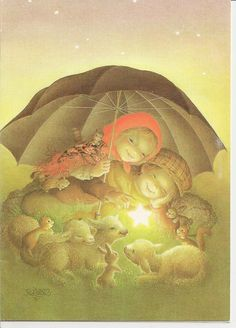 Postal de nadal Sweet Drawings, One Thousand, Believe In God, The Kingdom Of God, Holy Night, We Remember, Vintage Christmas Cards, Vintage Children, Illustration