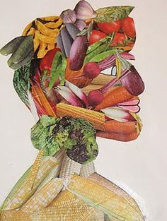Do Art!: Giuseppe Arcimboldo-Fruit Face/Vegetable Head Project - Grade ---Can be done use computers! Giuseppe Arcimboldo, Middle School Art, High School Art, 5th Grade Art, Ecole Art, School Art Projects, Art Lessons Elementary, Fruit Art, Italian Art