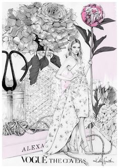 Fashion illustration of a lady by Kelly Smith
