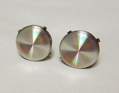 Excited to share the latest addition to my #etsy shop: Vintage Iridescent Rivoli Round Men's Cufflinks, Silver Cuff Links, Designer Jewelry, Patent 2.974.381, Prism Glass Cuff Links http://etsy.me/2DCRdMT #accessories #cufflinks #silver #midcentury #vintageiridescent #