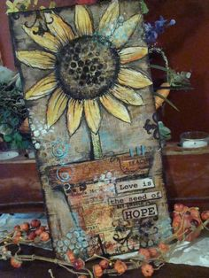 Decoupage Projects On Canvas | ... hero e1312064894252 Mixed Media Sunflower Canvas by Linda Peterson