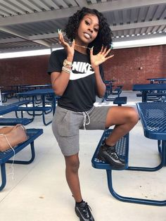Legging Outfits, Nike Outfits, Teenage Outfits, Girls Summer Outfits, Teen Fashion Outfits, Summer Girls, Outfits For Black Girls, Outfit Summer, Spring Outfits