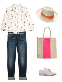 The perfect brunch outfit: cuffed boyfriend jeans with a printed button-down, plus cute accessories and preppy lace-up shoes.