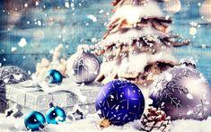 Download wallpapers Christmas, decoration, blue christmas balls, snow, Merry Christmas, Xmas