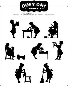 Busy Day Silhouettes: Free PDF Image   Just Something I Made