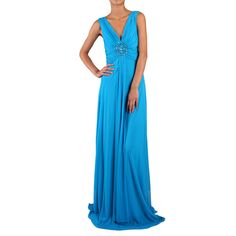 Look effortlessly stunning in this solid gown with shirring which comes together at the center of the bust. Embellished with beads a and hanging sash, this figure-flattering piece is a must for formal occasions.