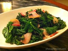 Today Tina from Oh Snap, Let's Eat! is sharing a simple staple recipe with  us: chunky bacon and kale stir fry! I cannot even count how many times I  have eaten a meal almost exactly like this since going paleo. This is a  GREAT way to make your leafy greens more palatable and to help you get  excited about eating them often. Also, if you are trying to include more  bone broth in your diet, you can add a little (or a lot) to this recipe.  Enjoy!!