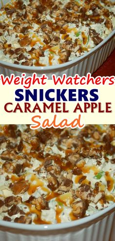 SNICKERS CARAMEL APPLE SALAD What's better than a salad? A sweet salad! This Snickers caramel apple salad is just incredible! It's super easy to make and you will enjoy every bite of it! Check it out. Don't forget to Pin this so it will be SAVED to your t Ww Desserts, Weight Watchers Desserts, Healthy Desserts, Delicious Desserts, Dessert Recipes, Yummy Food, Weight Watchers Sides, Skinny Recipes, Ww Recipes