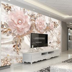 Large European Pearl And Rose Jewelry Tv Background Wallpaper Living Room Wallpaper Full Seamless Mural Model Wallpaper Modern Wallpaper From Living Room Wall Wallpaper, Wall Painting Living Room, 3d Wallpaper Mural, Modern Wallpaper, Custom Wallpaper, Photo Wallpaper, 3d Wallpaper For Bedroom, Living Room Themes, Embossed Wallpaper