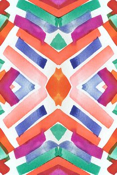 Watercolor Boho Dash 3 by mjmstudio. Original watercolor painting in orange, pink, peach, blue, teal, and mauve. Tribal pattern painterly abstract pattern on fabric, wallpaper, and gift wrap.