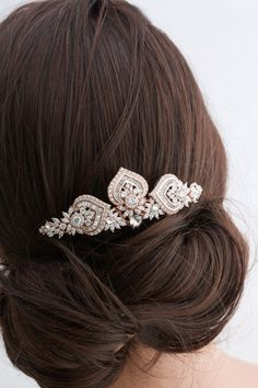This gorgeous wedding wedding hair comb has been handcrafted by me using sparkling Cubic Zirconia Components, Vintage brass Stampings and settings
