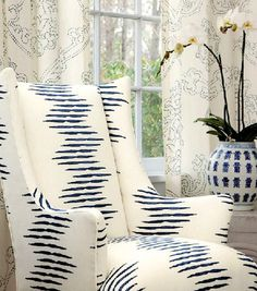 I love the two fabrics - wing chair and drapes