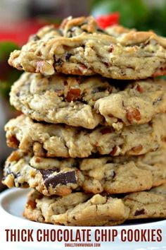 These scrumptious Homemade Chocolate Chip Cookies are thick, yet soft, melt in your mouth cookies full of chunks of rich chocolate and chopped pecans. Homemade Chocolate Chip Cookies, Pecan Cookies, Yummy Cookies, Ghirardelli Chocolate Chip Cookies, Pudding Cookies, Ginger Cookies, Shortbread Cookies, Chocolate Truffles, Cake Cookies