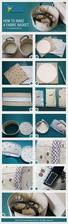 Sewing Fabric Storage How to make a fabric basket by Fabric Crafts, Sewing Crafts, Sewing Projects, Fabric Bowls, Wie Macht Man, Ideias Diy, Sewing Baskets, Fabric Storage, Craft Tutorials
