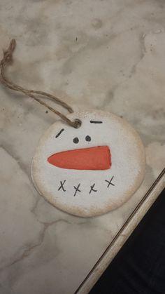 Primitive Salt Dough Snowmen Ornaments by SpareThymeSisters, $6.00