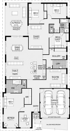 I&Apos;D turn the parent retreat into the library coming off the study home House Layout Plans, Family House Plans, Dream House Plans, House Layouts, House Floor Plans, Home Design Floor Plans, Dream Home Design, House Design, Building Plans