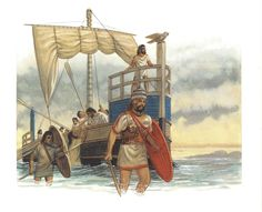Mycenaean warriors disembark their war ship. The attack on Troy was likely to have been an historical event, given the power of the folk memory that eventually gave birth to the poetic epic of 'The Iliad', although little archeological or contemporary written recorded evidence of a Mycenean confederation actually exists.