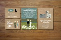 Custom Illustrated Wedding Invitations. chicksnhens