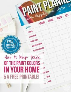 I can never remember which paint colors we picked for the dining room... I am LOVING this free paint planner printable! You can write down all of the paint colors in your entire house! How cool is that? Click through and read more or re-pin for later! /HappilyEverAEtc/
