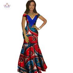 African Women Dashiki Print Bazin V-Neck Long Dress Remilekun - African Styles for Ladies African Dresses For Women, African Attire, African Wear, African Fashion Dresses, African Women, African Style, African Outfits, Ghanaian Fashion, African Design