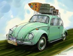 Green Beetle Car Vintage Tin sign Home Pub Cafe Wall Decoration for sale online Vw Beach, Beach Cars, Beetle Drawing, Green Beetle, Beach Drawing, Retro Surf, Vintage Tin Signs, Beetle Car, Car Volkswagen
