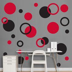 Black & Red Polka Dots - Polka Dots - Home Decor Graphics