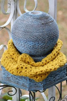 Ok, so there is no beyond, but I have made a couple of Infinity scarfs.  This little one was made using one skein of Vanna's Choice in Musta...