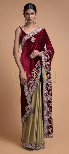 Buy Online from the link below. We ship worldwide (Free Shipping over US$100)  Click Anywhere to Tag Golden Beige Half And Half Saree With Cherry Red Pallu In Velvet Online - Kalki Fashion Golden beige and cherry red half and half saree.Pleats fabricated in satin with cherry red velvet border embroidered with zardozi, sequins and beads in floral pattern.