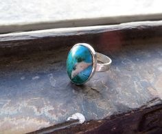 Peruvian Turquoise stone and sterling silver ring by PeruNz,