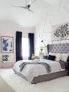 Image result for bedrooms with navy furniture