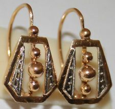 ANTIQUE VICTORIAN FRENCH BICOLOR 18K GOLD FINE HAND MADE DELICATE EARRINGS 1880