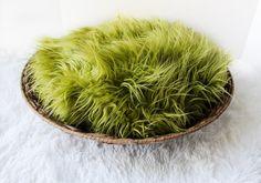 Green Mongolian Faux Fur Prop Newborn Baby by SweetBabyJamesShop, $12.99