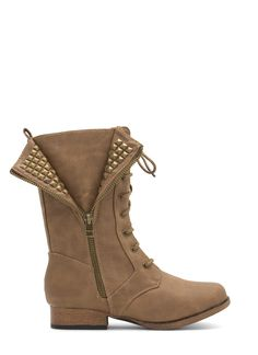 Show Yourself Studded Faux Leather Boots