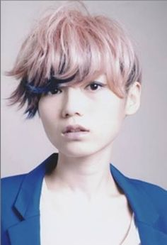 """pink wide bang, short back, floppy sides, """"this would be perfecf for petite teenagers"""""""