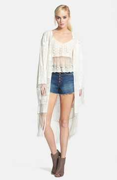 MINKPINK 'Summer Loving' Fringed Lace Kimono Cardigan available at #Nordstrom