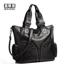 Women Luxury Tote Bags 2017 New Designer Fashion Large Capacity Handbags PU Leather Zipper Rivet Trend Shoulder Bag Women Bags  #Affiliate