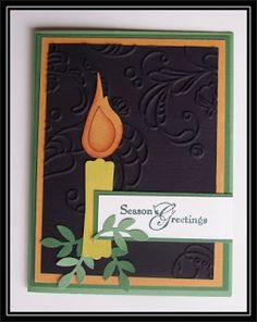 "By TrishG. Candle from Stampin' Up ""Modern Label"" punch and bird punch. Branch punch also used on card. Background dry embossed."