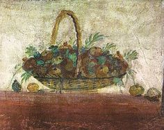 Detail of a fresco at the entrance of a tomb of Via Portuense (National Museum Rome) Fresco, Roman Food, Pompeii And Herculaneum, Roman History, Ancient Romans, National Museum, Byzantine, Antique Art, Still Life