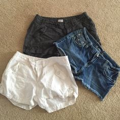 ⭐️FLASH SALE⭐️Lot of 3 Pairs of Shorts Jean shorts are size 9-10, grey and white shorts are size 10 Shorts Jean Shorts